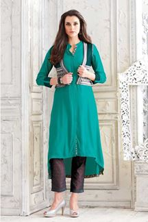 Picture of Enriching sea green designer plain kurti