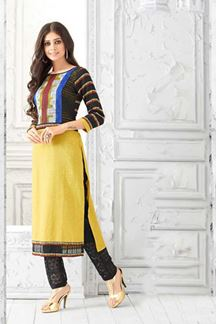 Picture of Classy yellow kurti with colorful torso