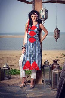 Picture of Lavish blue & white stripe printed kurti