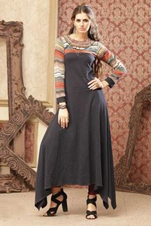 Picture of Glorious grey designer plain falling kurti