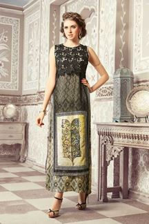 Picture of Trendy green printed kurti with cape