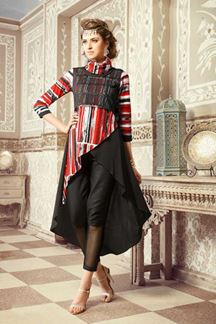 Picture of Eccentric red & black designer kurti