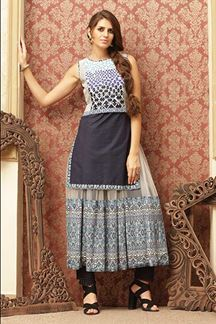 Picture of Rich grey & cream contemporary kurti