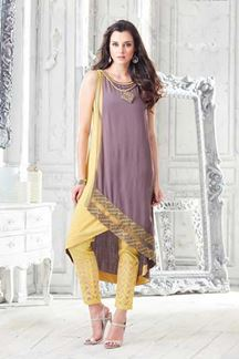 Picture of Mauve & yellow designer fancy kurti
