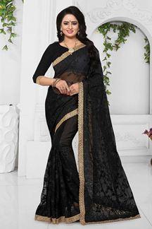 Picture of Sensational black designer party saree