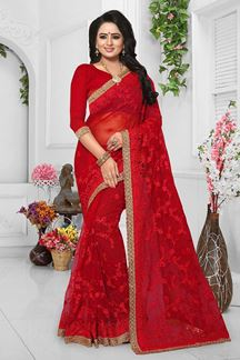 Picture of Royal red color designer saree with zari
