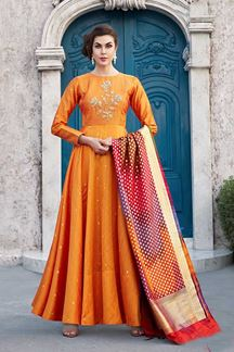 Picture of Majestic orange designer floor length suit