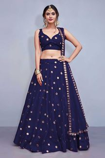 Picture of Stylish dark blue designer lehenga choli