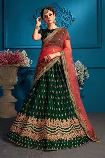 Picture of Traditional green designer lehenga choli