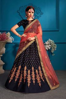 Picture of Stunning navy blue designer lehenga set