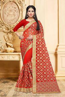 Picture of Vibrant red designer saree with zari