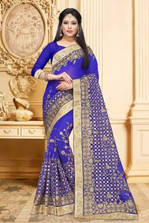 Picture of Royal blue designer saree with zari