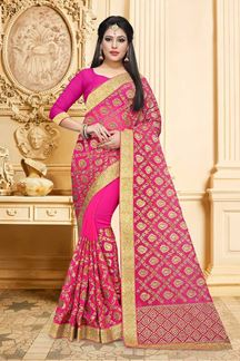 Picture of Feminine pink designer saree with zari