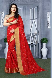 Picture of Vibrant red designer saree with resham