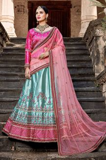 Picture of Catchy pink & blue designer lehenga set