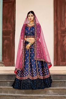Picture of Fascinating deep blue designer lehenga