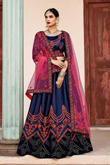 Picture of Classic deep blue designer lehenga choli