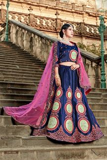 Picture of Glorious deep blue designer lehenga set