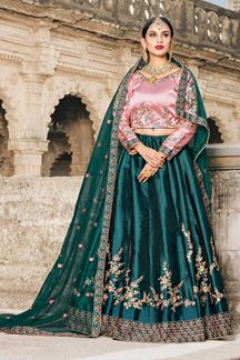 Picture of Tantalizing pink & rama green lehenga