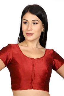 Picture of Stylish red designer blouse with potli