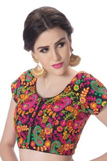 Picture of Quirky black designer blouse in resham