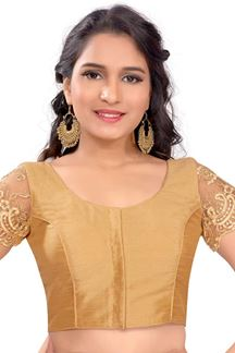 Picture of Sassy gold designer blouse with resham