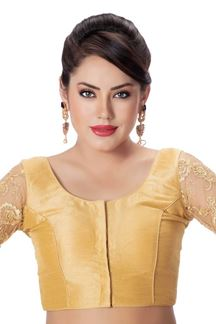 Picture of Classy gold designer blouse with resham
