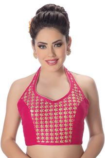 Picture of Sizzling pink halter neck designer blouse