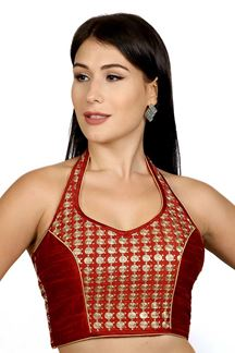 Picture of Attractive red raw silk designer blouse