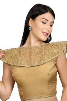 Picture of Peculiar gold designer fancy blouse