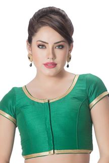 Picture of Flashy green designer plain blouse