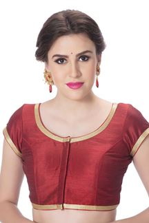 Picture of Novel maroon designer blouse with border