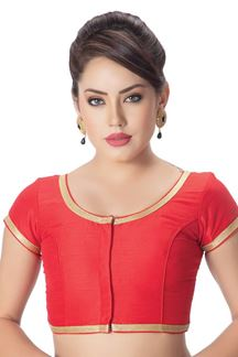 Picture of Striking red designer blouse with border