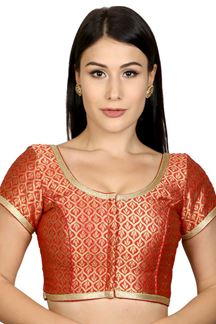 Picture of Catchy orange designer brocade blouse