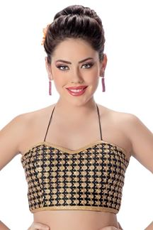 Picture of Rich black tube blouse with spiral motifs