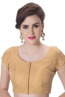 Picture of Lovely gold designer self brocade blouse