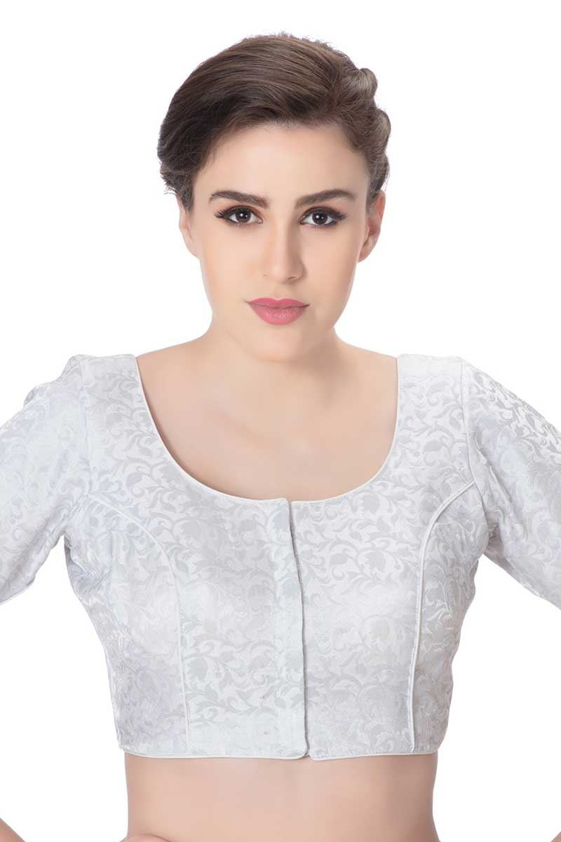 0a67e249bac Picture of Gripping silver designer brocade blouse