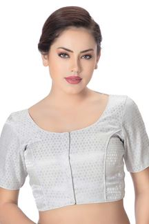 Picture of Catchy silver designer brocade blouse