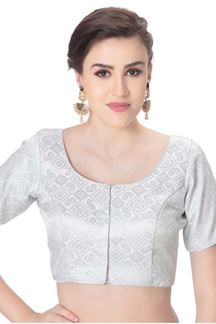 Picture of Trendy silver designer brocade blouse