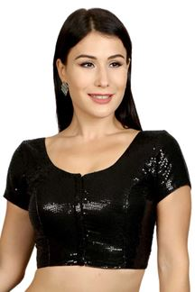 Picture of Stylish black designer sequined blouse