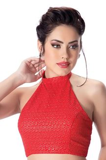 Picture of Stylish red halter necked designer blouse
