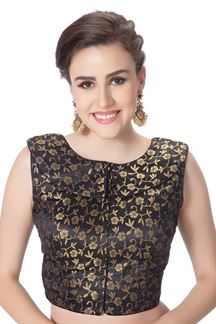 Picture of Catchy black designer brocade blouse