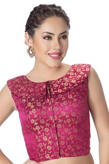 Picture of Catchy pink designer brocade blouse