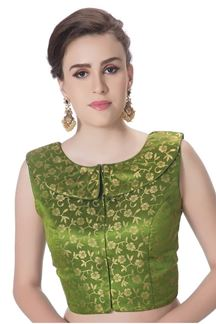 Picture of Quirky green designer brocade blouse