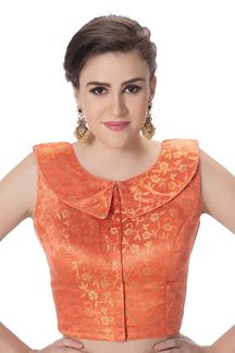 Picture of Classy orange designer wedding blouse