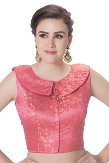 Picture of Signature peach designer brocade blouse