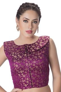 Picture of Luscious purple designer brocade blouse