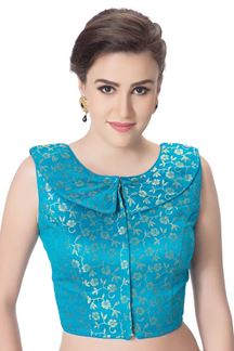 Picture of Blissful sky blue designer brocade blouse