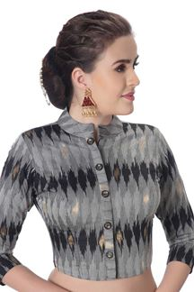 Picture of Trendy grey designer patola print blouse