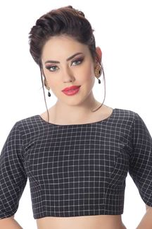 Picture of Stylish black designer checkered blouse